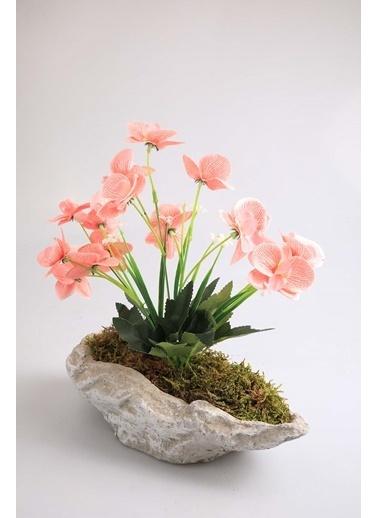 Kibrithane Çiçek Yapay Çiçek Beton Saksı Mini Pembe Kumaş Orkide Kc00200789 Renkli